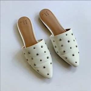 A New Day White Studded Loafers 7 1/2